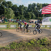 Chris Austin (far left) leads the 36 to 40 year old cruiser division race down the first straight away at the Mankato BMX track on Wednesday. Photo by Jackson Forderer
