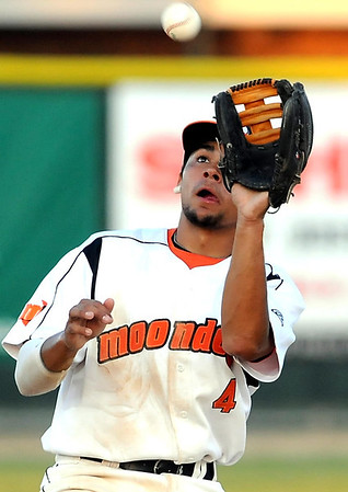 Mankato MoonDogs' Drew Stankiewicz fields a ball during their game against Rochester Tuesday.