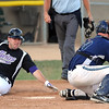 Mankato Twins' Tony Konicek scores ahead of the throw to Shakopee catcher Andrew Zellman during the third inning Wednesday at Franklin Rogers Park.