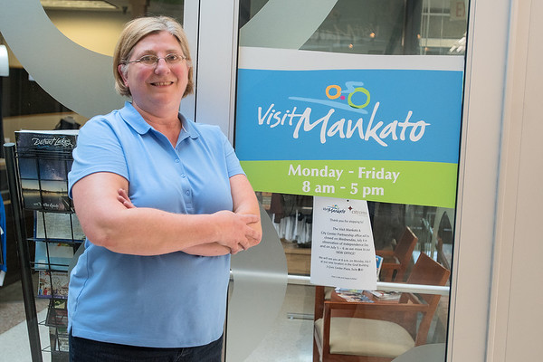 Joy Leafblad, the Mankato Sports Commission Director, outside of her old office at the Mankato Visitor and Convention Center in the Mankato Mall. Photo by Jackson Forderer