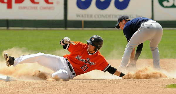 Moondog Brinn Bell is slides safely into second for a double during action at Franklin Rogers Park on Tuesday. Photo by John Cross
