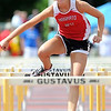 Mankato West's Rachel Gravley clears a hurdle during the 100 meter hurdles finals at the Section 2AA track meet Friday at Gustavus Adolphus College.