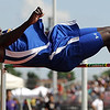 Waseca's Yves Spies clears the bar at 6 feet, 8 inches during the high jump at Saturday's Section 2A meet at Mankato West High School. Spies won the event to earn a trip to the state meet.