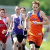 Madelia-Truman's Caleb Arndt leads the pack during the boys 4x800 meter relay finals at the Section 2A meet Saturday at Mankato West. Arndt and his teammates won the event, setting a new section record.
