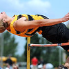 Mankato East's Brody Ziegler clears the bar during Friday's high jump finals at the Section 2AA track meet at Gustavus Adolphus College. Ziegler won the event to punch his ticket to next week's state meet.