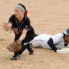 Prior Lake's Shaye Barton beats a throw to Stillwater's Lauren Jordan back at second base during a Class AAA quarterfinal game Thursday at Caswell Park.