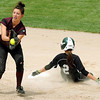 Rockford's Hannah Carlson slides safely into second ahead of a throw to Fergus Falls shortstop Laura Gaustad during Class AA quarterfinal action Thursday at Caswell Park.