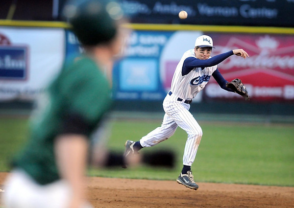Pat Christman<br /> Minnesota Valley Lutheran's Justin Bruns tries to turn a double play during their game against Waterville-Elysian-Morristown in the Section 2A baseball tournament Tuesday at Franklin Rogers Park.