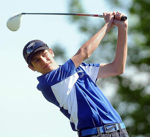 John Cross<br /> Lake Crystal-Wellcome Memorial golfer Carter Richards watches his drive during Section 2A golf at North Links on Monday.