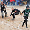 Pat Christman<br /> Cherry catcher Logan Anderson looks on as teammate DeAnn Bjerklie fields a bunt from New Life Academy's Sydney Steele during their State Class A quarterfinal game Thursday at Caswell Park.