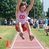 Jonathan Sickel competes in the long jump event at the Section 2AA track meet held on Friday. Photo by Jackson Forderer