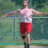 Garrett Shumski makes a throw in the discus event at the Section 2AA track and field meet held at Gustavus on June 1. Shumski will be competing at the state track and field meet this Friday and Saturday. Photo by Jackson Forderer