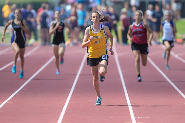 Megan Geraets nears the finish line during the 400 meter  run and set herself apart from the rest of the runners in the finals at the Section 2AA track and field meet held on Friday. Photo by Jackson Forderer