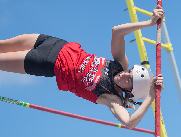 Jenna Sikel clears the bar in the pole vault at the Section 2AA track and field meet held at Gustavus on June 1. Photo by Jackson Forderer