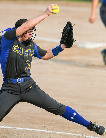 Le Sueur-Henderson's Kelsey Berndt delivers a pitch to a St. Peter batter in the Section 2AA championship game. Photo by Jackson Forderer