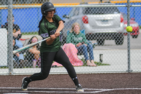 Waterville-Elysian-Morristown's Makayla Paulson takes a swing at a pitch in a game against Janesville-Waldorf-Pemberton. Photo by Jackson Forderer