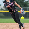 Coley Ries of the Chicago Bandits throws a pitch to a Beijing Eagles batter during Wednesday's game played at Caswell Park. Ries threw five shutout innings to improve her record to 4-0 and the team record to 14-0. Photo by Jackson Forderer