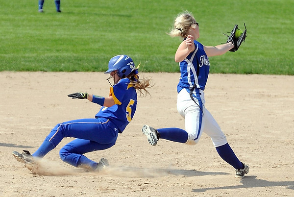 Le Sueur-Henderson's Veronica Sinell beats the throw to second base during the sixth inning of a Class AA quarterfinal game against St. Anthony Village Thursday at Caswell Park. Sinell would later score to tie the game. Photo by Pat Christman