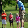 Minnesota Valley Lutheran golfer Jake Grunewald leaves a putt just short during the Section 2A golf tournament at North Links on Monday. Photo by John Cross