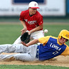 Mankato Loyola's Jake Peller makes it back to second base as BOLD's Lane Stadther fields the throw during the third inning of their Section 2A tournament game Tuesday at Franklin Rogers Park. Photo by Pat Christman