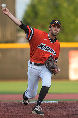 Mankato MoonDogs pitcher Jonathan Ludwig throws a pitch to a Waterloo batter in Saturday's game played at Franklin Rogers Park. Ludwig allowed only two hits to the Iowa squad. Photo by Jackson Forderer