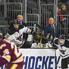 Minnesota State's head coach of the men's hockey team Mike Hastings (second from right) watches his players square off against the University of Minnesota-Duluth at a game played in Sioux Falls on March 23, 2018. Photo by Jackson Forderer