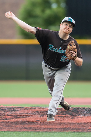 Rochester Honkers pitcher David Lemasters delivers a pitch to a MoonDogs batter during Thursday's game at Franklin Rogers Park. Lemasters pitched a perfect game through five innings.