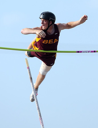 Blue Earth Area's Jake Zebedee can't quite clear the bar at 15 feet during the State Class A pole vault Friday at Hamline University in St. Paul.
