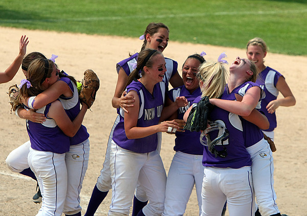 New Ulm Celebrates after they win the State AA Tournament.
