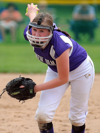 New Ulm's Sydney Schuck delivers a pitch during their State Class AA game against Kasson-Mantorville Thursday at Caswell Park.