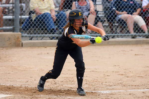 Mankato East's Carolyn Osdoba lays down a bunt in the bottom of the first during a loss in the third place game.