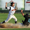 Mankato MoonDogs' Chris Munoz turns a double play during their game against Rochester Saturday at Franklin Rogers Park.