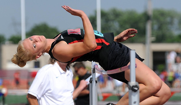 New Richland-Hartland-Ellendale-Geneva's Carlie Wagner clears the bar during the girls high jump finals at the State Class A track and field meet Friday in St. Paul. Wagner won the event.