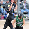 Pat Christman<br /> Blooming Prairie catcher Sam Ivers catches a pop up from New Life Academy's Stacia Butwin during their State Class A championship game Friday at Caswell Park.