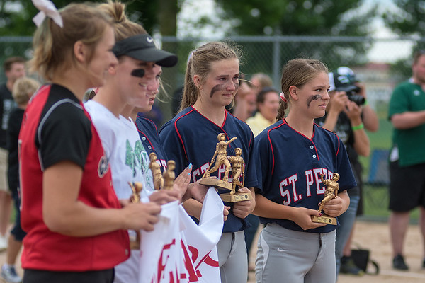 Three St. Peter softball players were voted to the Class AA state softball all tournament team, Shelby Paul (right), Olivia Stevens (second from right) and Mackenzie Brey (not pictured, next to Stevens). Photo by Jackson Forderer