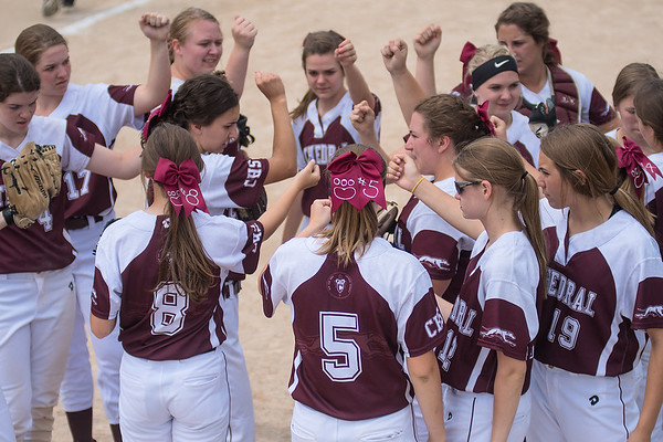 New Ulm Cathedral softball players huddle after a 1-2-3 inning in a quarterfinal game at the state tournament. Photo by Jackson Forderer
