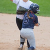 St. Peter's Shelby Paul (5) tries a take out slide against Maple Lake's Linsey Rachel at second base as the Irish tried to turn a double play against the Saints. The Saints put the ball in play a lot, but unfortunately usually right at an Irish fielder. St. Peter lost the game 11-1 but took second in the Class AA state softball tournament. Photo by Jackson Forderer