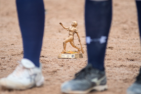 One of three all tournament team trophies given to a St. Peter softball player behind the lineup of players. Photo by Jackson Forderer
