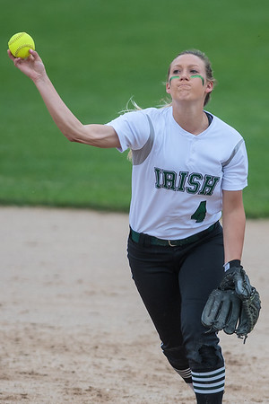 Linsey Rachel of Maple Lake makes a throw to first in the championship game against St. Peter. The Maple Lake defense held St. Peter to one run. Photo by Jackson Forderer