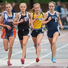 Madison More (far right) of St. Peter stays with a pack of runners in the 1600 meter run at the Class A state track meet. More finished in fifth place with a time of 5 minutes and 4.67 seconds. Photo by Jackson Forderer