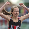 Jaylen Struck-Schmitz of Belle Plaine celebrates after crossing the finish line and winning the 300 meter hurdles race with a time of 44.24 seconds at the Class A state track meet. Photo by Jackson Forderer