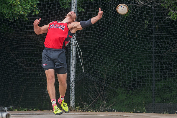 Mitch Weber of St. Clair throws in the discus event at the Class A state track and field meet held at Hamline University in St. Paul on Saturday. Weber, who finished in second last year, won the event this year with at throw of 185 feet and 8 inches. Photo by Jackson Forderer