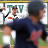 3B #28 tries to throw out a St. Cloud Rox baserunner during the second inning Tuesday at Franklin Rogers Park. Photo by Pat Christman