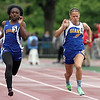 Le Sueur-Henderson's Kayla Stowell (right) runs with Minneapolis Edison's Jia Lewis in the 100 meter dash finals at the State Class A track and field meet Saturday at Hamilne University. Stowell took second in the 100 and the 200 meter dashes. Photo by Pat Christman