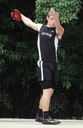 St. Clair's Ryan Kruse lines up to throw the discus during Saturday's Class A track and field meet. Photo by Pat Christman