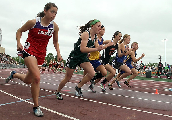 Waterville-Elysian-Morristown's Tierney Winter (second from left) leaves the starting line during the 1600 meter run finals at the State Class A track and field meet Saturday in St. Paul. Photo by Pat Christman
