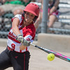 Emily Veroeven takes a swing at a pitch in Mankato West's third place game against Totino-Grace. The Scarlets lost to Totino-Grace and finished fourth in the state tournament. Photo by Jackson Forderer