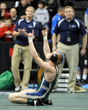 Waterville-Elysian-Morristown's Brady Ayers celebrates after defeating Lewiston-Altura/Rushford-Peterson's Jordan Theede to win the State Class AA 160 pound championship Saturday at the Xcel Energy Center in St. Paul.