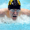 Mankato East/Loyola's Bobby Schultze competes in the 100-yard butterfly at the State Swimming and Diving meet at the University of Minnesota Aquatic Center.