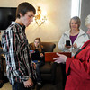 John Cross<br /> Carol Brady of Exclusively Diamonds presents Jacob Shaefer of New Ulm a watch and his mother, Melissa Paa, a diamond pendant, during a send-off breakfast for Jacob's Make-A-Wish shopping spree on Wednesday at the Mall of America. Jacob, who has bone cancer, had his wish granted through Jewelers for Children, a jewel industry organization whose mission is helping children in need or who are ill. Jacob's brother, Aaron, and girlfriend, Megan Rehbein, also are pictured.